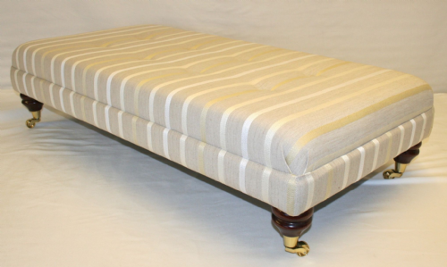 hand Made Custom Footstool - Laura Ashley Luxford Natural